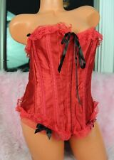 Sexy Red Satin Valentine's High Closs Fancy Lace Sissy Corset Bustier Top sz L