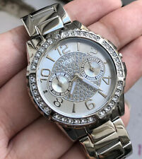 Ladies Guess Designer Watch VIVA W0111L1 Silver White Steel Multi Dial Genuine