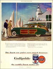 1949 vintage Ad GULFPRIDE Motor Oil ART Classic wood paneled automobile 101617