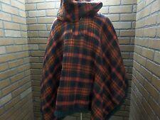 Vintage Tartan Red Plaid Blanket cape w/Fringe & hood 1/3 zip by Hunter One Size