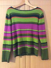 Long Sleeve Top, Green / Purple / Orange Striped, Large