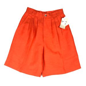 Vintage NWT David N. Linen Blend Pleat-Front Shorts High Waist Orange Size 6