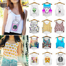 Womens Emoji Tank Blouse Midriff Scoop T-Shirt Cropped Top Vest Cami Tee Singlet