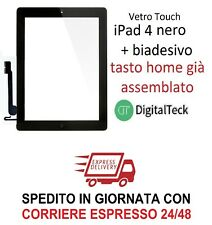 VETRO TOUCH SCREEN Apple iPad 4 WiFi e 3G MOD. A1458 A1459 A1460 NERO