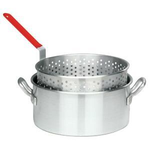 Bayou Classic Fry Pot Basket Perforated 10 Quart Deep Frying Aluminum Stainless