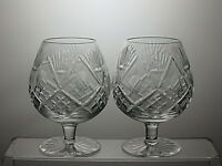 "CUT GLASS LEAD CRYSTAL 10 Oz BRANDY GLASSES SET OF 2 - 4 1/2"" TALL"
