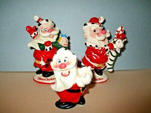 Vintage Hold Howard ?1950's Ceramic Winking Santa Figurines lot of three