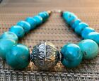 Chunky Beaded Turquoise Necklace Native American Sterling Silver Vintage