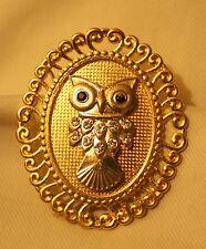 Hoot Owl Rhinestone Brooch Pin Delightful Swirled Rim Goldtone Sculpted Wise