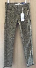 Zara Tan And Black Step Hem Leopard Print Mid Rise Jeans Size 8
