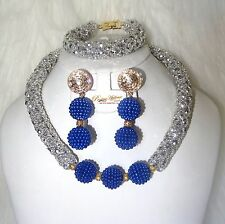 Silver Mixed with Royal Blue Crystal Party Bridal Wedding African Beads Jewelry