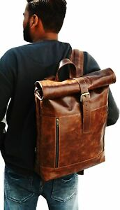 Soft Leather Satchel Shoulder Vintage New Handmade Backpack Outdoor Travel Bag