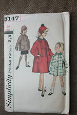 Simplicity Sewing Pattern Girl's Hat and Coat in 2 Lengths Size Girl 12