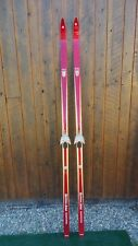 """ANTIQUE Wooden 84"""" Skis OLD RED Finish with Metal  Bindings"""