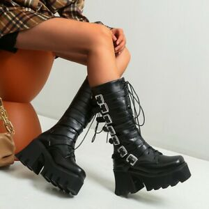 Punk Womens Platform Chunky Heels Calf Knee High Boots Gothic Buckle Boots Shoes