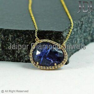 Gemstone 6.9 Ct Tanzanite Pendant Chain Necklace 14k Yellow Gold Diamond Jewelry
