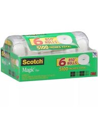 """Scotch Magic Tape with Refillable Dispenser - 3/4 x 850""""- 6 Rolls ***NEW***"""