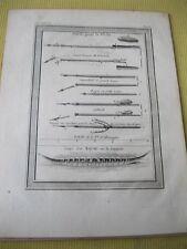 Vintage Print,DARDS POUR LA PECHE,c1749,Umiak kaiak ou Canot a un seul Homme
