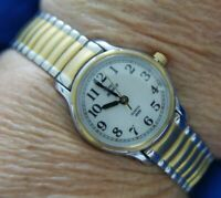 VTG TIMEX INDIGLO T EF STEEL expansion GOLD & SILVER TONE  watch new batt A20