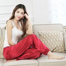 Women Faux Silk Pants Satin Taichi Kungfu Trousers Pyjama Bottoms Sleepwear New