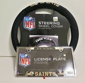 NEW ORLEANS SAINTS SUEDE AND MESH STEERING WHEEL COVER AND LICENSE PLATE FRAME