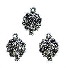 Supplie pendentif paon métal tibetan 14,5 x 21 mm 3x