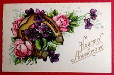 CPSM. HEUREUX ANNIVERSAIRE. Fer à Cheval. Roses. Violette. Ajoutis Poudre Brille