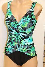 NWT Tropical Honey Swimsuit Bikini 1 one piece Sz 10 Black Multi