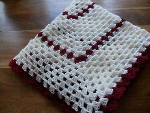 hand crochet cream and burgundy shawl/blanket