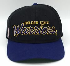 Vintage Golden State Warriors Script Black Dome Snapback Hat Sports Specialties