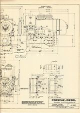 PORSCHE A-308 DIESEL ENGINE Super Tractor ~ Sectional Drawing ~ c.1960 ENGLISH