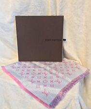 """NEW LOUIS VUITTON Monogram Logo Eyelash Fringe Pink Blue Silk Scarf, 27"""" SQ."""