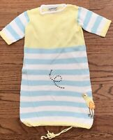 Zackali Baby Boy Newborn Sweater Knit Layette Gown Blue Yellow Bird Bee Cotton