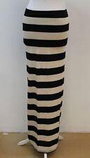 FREE PEOPLE Ladies Beige/Black Cotton Blend Elastic Waist Striped Maxi Skirt S