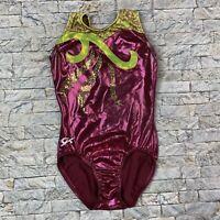 GK AXS Adult XS Purple Green Metallic Sequin Sleeveless Gymnastics Leotard