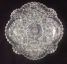 "QUAKER CITY American Brilliant ABP Cut Glass COLUMBIA Pattern 9"" Low Bowl"