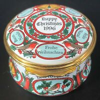 Vintage Halcyon Days Enamels Christmas 1996 Trinket Box