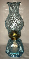 """Fostoria COIN FROSTED BLUE *13 1/2"""" COACH OIL LAMP"""
