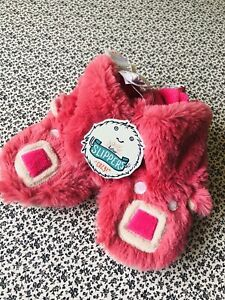 Cute Girls Hatley Cozy Slouch Bootie Slippers Sz 5-7 Pink BNWT BEAR Gift Fluffy