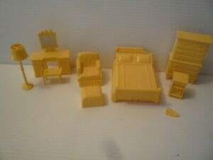 Marx CLASSIC YELLOW BEDROOM ROOM Vintage Miniature Dollhouse Furniture Lot