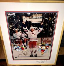 Rare Garfield Odie Paws Color Model Cel Signed Jim Davis Mark Messier NY Rangers