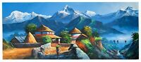 MOUNT ANNAPURNA FROM DHAMPUS ORIGINAL ACRYLIC PAINTING ON CANVAS 22 x 52-INCH