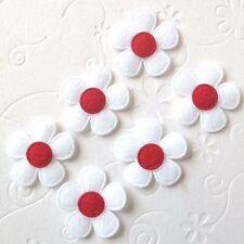 """US SELLER - 60 pc x 1"""" Padded Felt Spring Flower Appliques/White for Bows ST464R"""