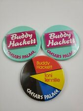 "Buddy Hackett Lot Of 3 Caesars Palace Button Pin Badge Vintage 3 Inch 3"""