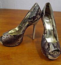 2b bebe Womens 8 M Snakeskin Peep Toe Stiletto Linen Heels Platforms Pumps Shoes