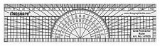 Multi Use Pattern Metric Grid Ruler With Protractor-15 cm / 6 Inches-Lino-A7023