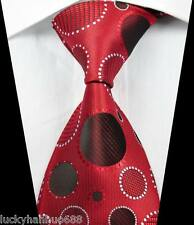 New Classic Patterns Round Red White JACQUARD WOVEN 100% Silk Men's Tie Necktie