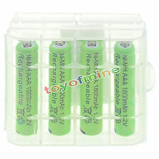 4pcs 3A AAA 1800mah NiMH 1.2v Green Rechargeable Battery +1pcs Plastic case