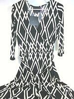 LEOTA WOMENS PERFECT WRAP 3/4 SLEEVE MIDI DRESS BLACK DIAMOND POLYESTER NEW