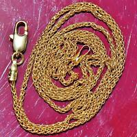 "UnoAerre 14k 585 yellow gold necklace 17.5"" Italian wheat chain vintage 2.8gr"